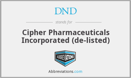 DND - Cipher Pharmaceuticals Incorporated  (de-listed)