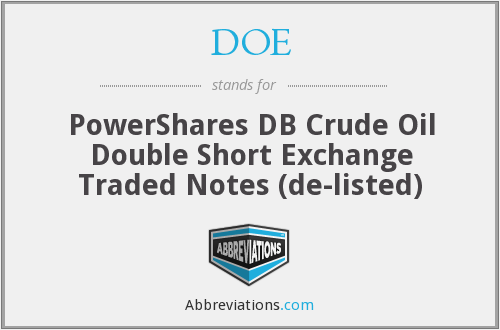 DOE - PowerShares DB Crude Oil Double Short Exchange Traded Notes  (de-listed)