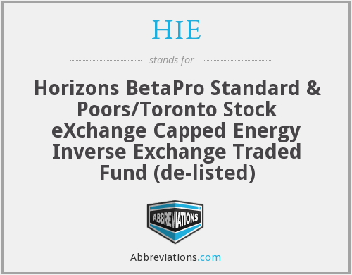 HIE - Horizons BetaPro Standard & Poors/Toronto Stock eXchange Capped Energy Inverse Exchange Traded Fund  (de-listed)