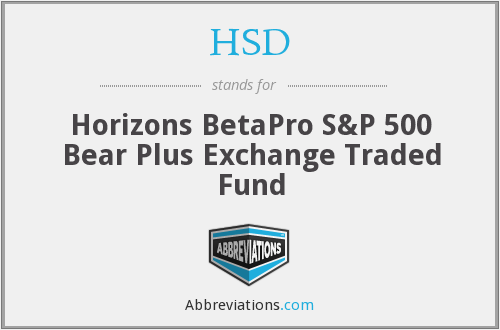 HSD - Horizons BetaPro S&P 500 Bear Plus Exchange Traded Fund