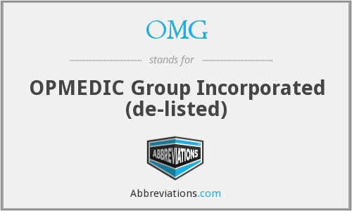 OMG - OPMEDIC Group Incorporated  (de-listed)