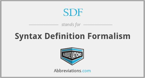 SDF - Syntax Definition Formalism