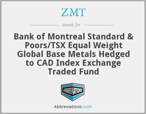 ZMT - Bank of Montreal Standard & Poors/TSX Equal Weight Global Base Metals Hedged to CAD Index Exchange Traded Fund