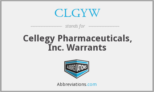CLGYW - Cellegy Pharmaceuticals, Inc. Warrants