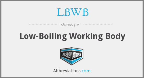 LBWB - Low-Boiling Working Body