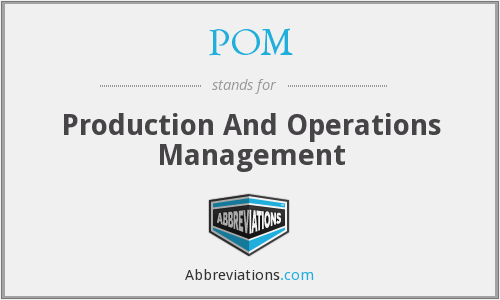 POM - Production And Operations Management