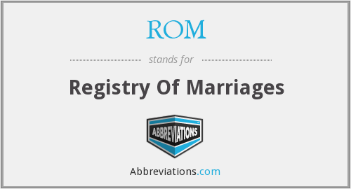 ROM - Registry Of Marriages