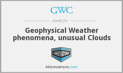 GWC - Geophysical Weather phenomena, unusual Clouds