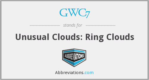 GWC7 - Unusual Clouds: Ring Clouds