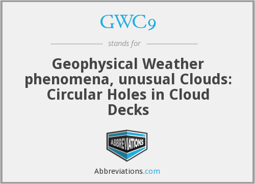 GWC9 - Geophysical Weather phenomena, unusual Clouds: Circular Holes in Cloud Decks