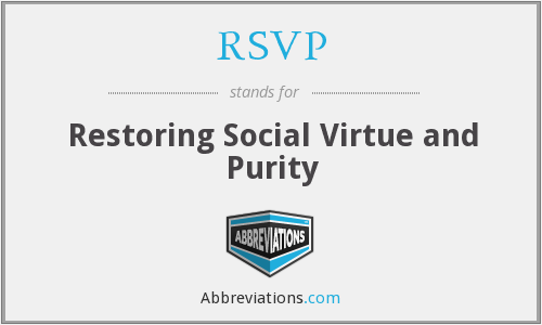 RSVP - Restoring Social Virtue and Purity