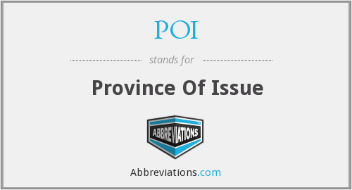 POI - Province Of Issue