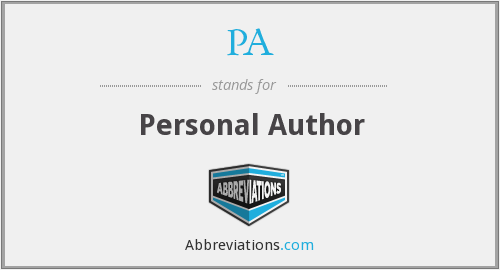 PA - Personal Author
