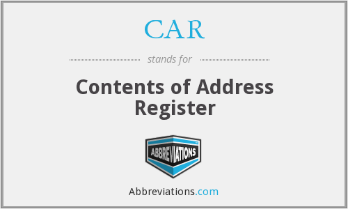 CAR - Contents of Address Register