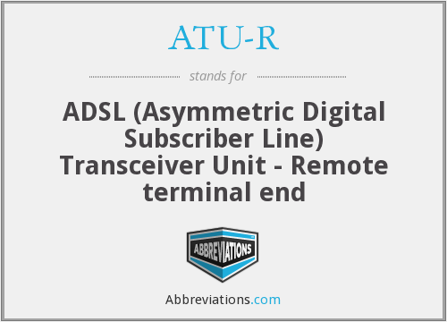 ATU-R - ADSL (Asymmetric Digital Subscriber Line) Transceiver Unit - Remote terminal end