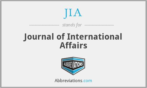 JIA - Journal of International Affairs