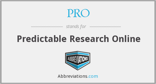 PRO - Predictable Research Online
