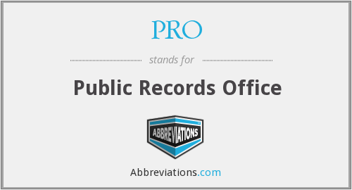PRO - Public Records Office