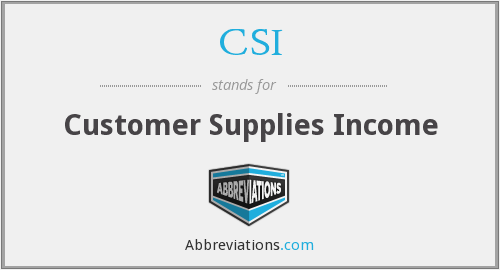 CSI - Customer Supplies Income