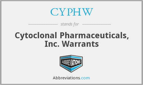 CYPHW - Cytoclonal Pharmaceuticals, Inc. Warrants