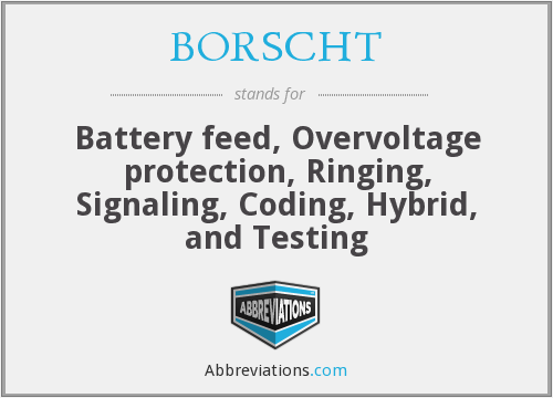BORSCHT - Battery feed, Overvoltage protection, Ringing, Signaling, Coding, Hybrid, and Testing