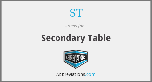 ST - Secondary Table