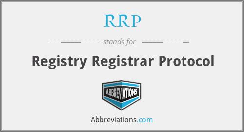 RRP - Registry Registrar Protocol