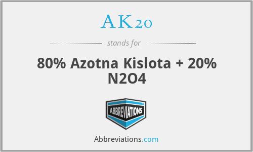 AK20 - 80% nitric acid + 20% N2O4 (AK = Azotna Kislota = Nitric Acid)