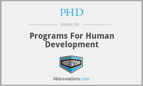 PHD - Programs For Human Development