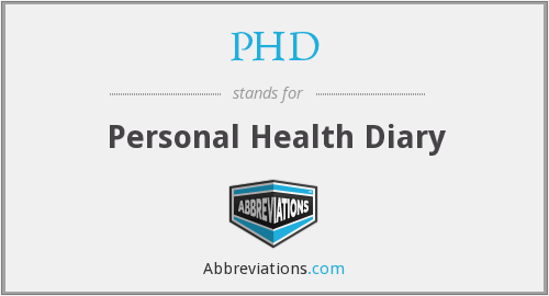 PHD - Personal Health Diary