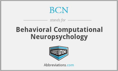 BCN - Behavioral Computational Neuropsychology