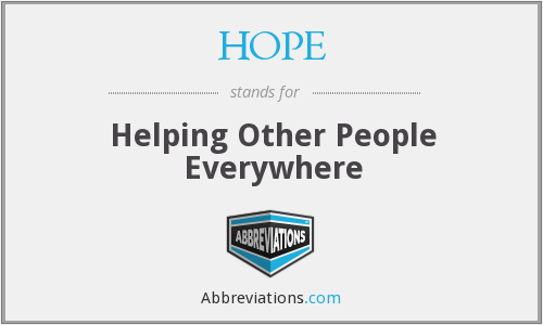 HOPE - Helping Other People Everywhere