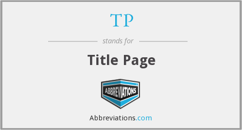 TP - Title Page
