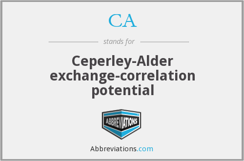 CA - Ceperley-Alder exchange-correlation potential