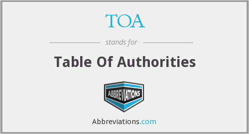 TOA - Table Of Authorities