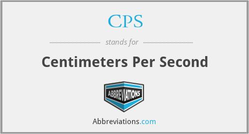 CPS - Centimeters Per Second