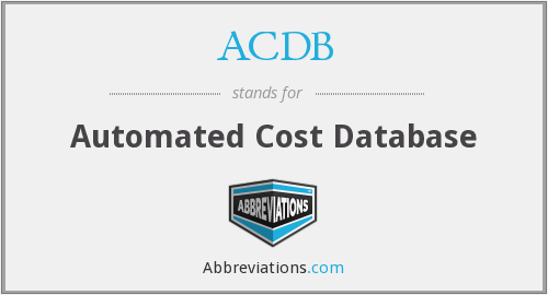 ACDB - Automated Cost Database