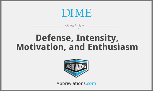 DIME - Defense, Intensity, Motivation, and Enthusiasm