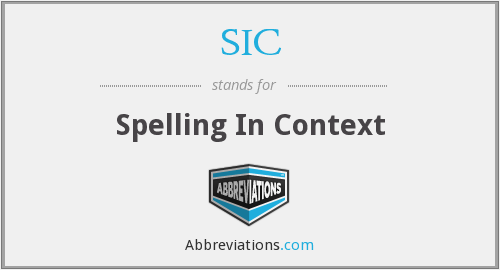 SIC - Spelling In Context