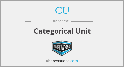 CU - Categorical Unit