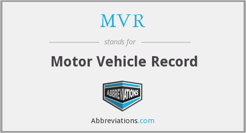 MVR - Motor Vehicle Record