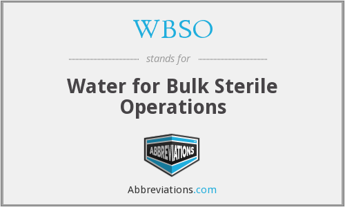 WBSO - Water for Bulk Sterile Operations