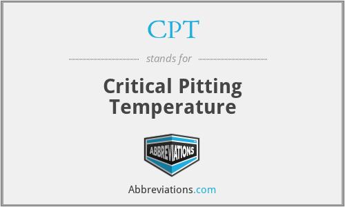 CPT - Critical Pitting Temperature