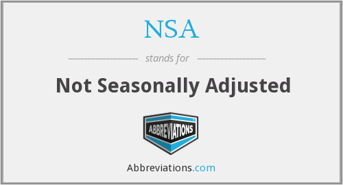 NSA - Not Seasonally Adjusted
