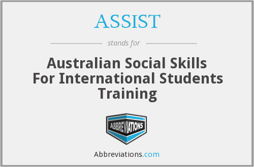 ASSIST - Australian Social Skills For International Students Training