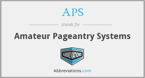 APS - Amateur Pageantry Systems