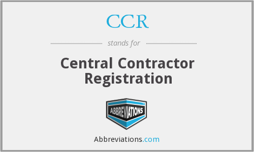 CCR - Central Contractor Registration