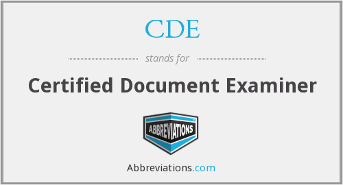 CDE - Certified Document Examiner