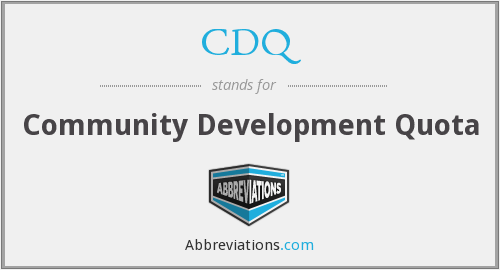 CDQ - Community Development Quota