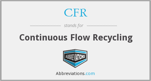 CFR - Continuous Flow Recycling